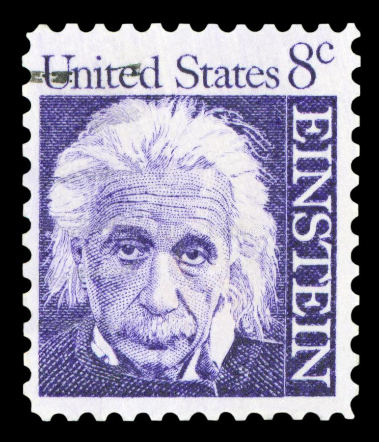 US - Postage Stamp. UNITED STATES OF AMERICA - CIRCA 1965: A postage stamp with a portrait of famous physicist Albert Einstein 1879-1955, commemorating the 10th stock photography