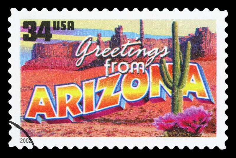 US - Postage Stamp. UNITED STATES OF AMERICA - CIRCA 2002: a postage stamp printed in USA showing an image of the Arizona state, circa 2002 stock image