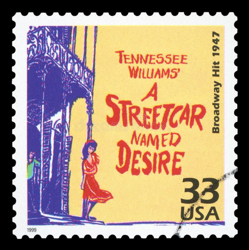 US - Postage Stamp. UNITED STATES OF AMERICA, CIRCA 1999: a postage stamp printed in USA showing an image of the Broadway play A Streetcar Named Desire by stock image