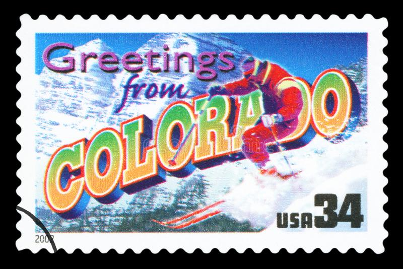 US - Postage Stamp. UNITED STATES OF AMERICA - CIRCA 2002: a postage stamp printed in USA showing an image of the Colorado state, circa 2002 stock photo