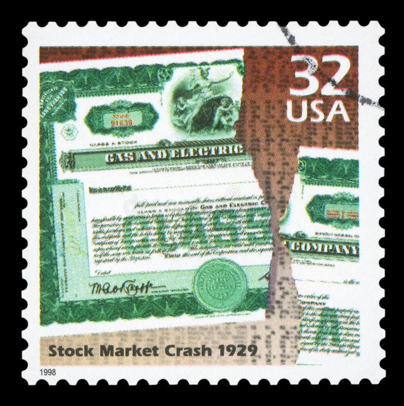 US - Postage Stamp. UNITED STATES OF AMERICA - CIRCA 1998: a postage stamp printed in USA showing an image of a company stock torn about the 1929 stock market royalty free stock photos