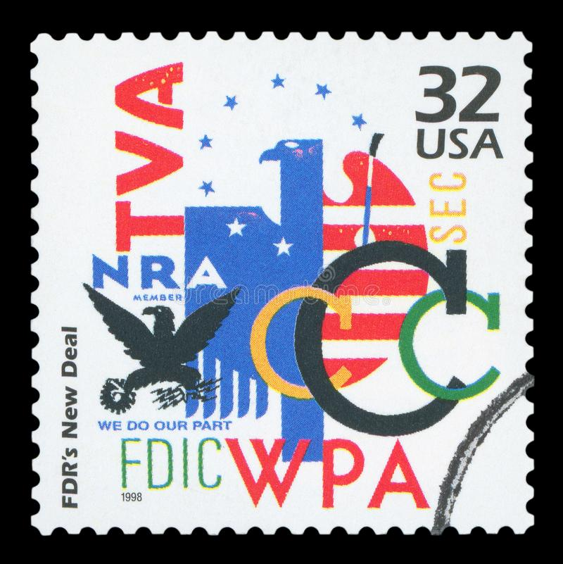US - Postage Stamp. UNITED STATES OF AMERICA - CIRCA 1998: a postage stamp printed in USA showing an image of different initial letters of various New Deal stock images