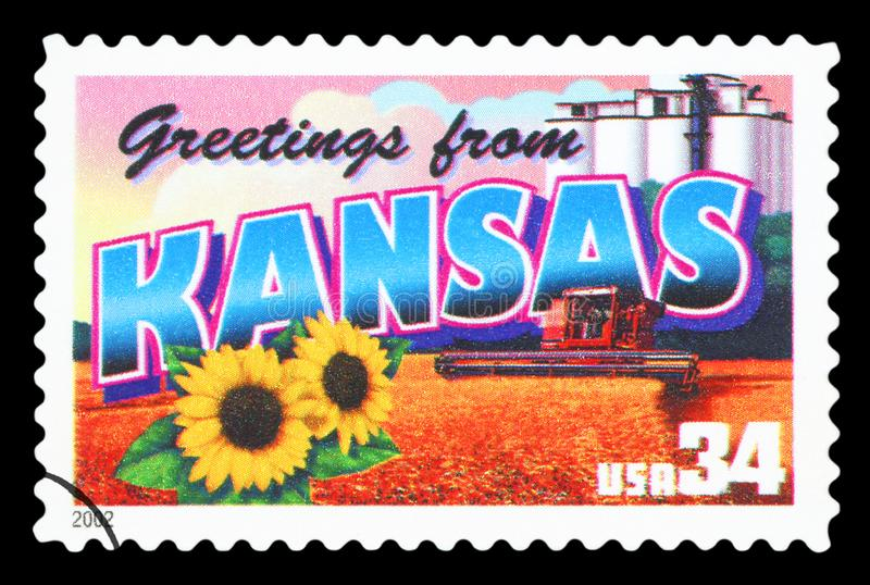US - Postage Stamp. UNITED STATES OF AMERICA - CIRCA 2002: a postage stamp printed in USA showing an image of the Kansas state, circa 2002 stock photo