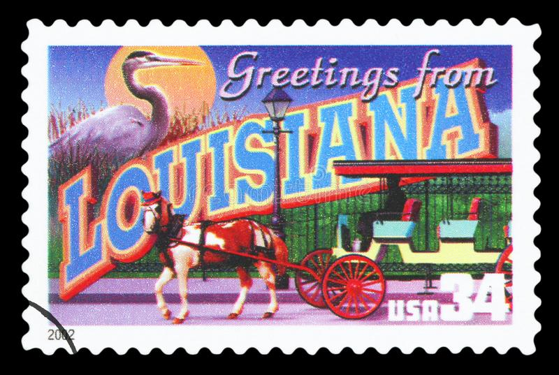 US - Postage Stamp. UNITED STATES OF AMERICA - CIRCA 2002: a postage stamp printed in USA showing an image of the Louisiana state, circa 2002.  Isolated on black royalty free stock photos