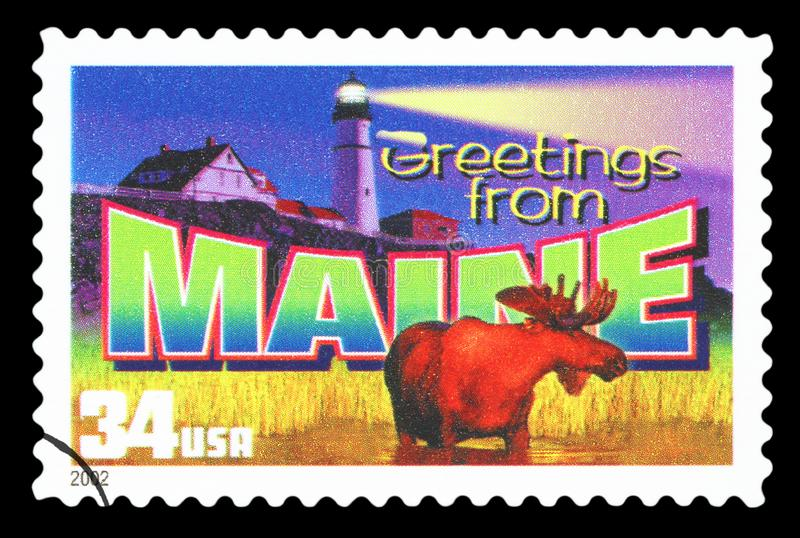 US - Postage Stamp. UNITED STATES OF AMERICA - CIRCA 2002: a postage stamp printed in USA showing an image of the Maine state, circa 2002 royalty free stock images