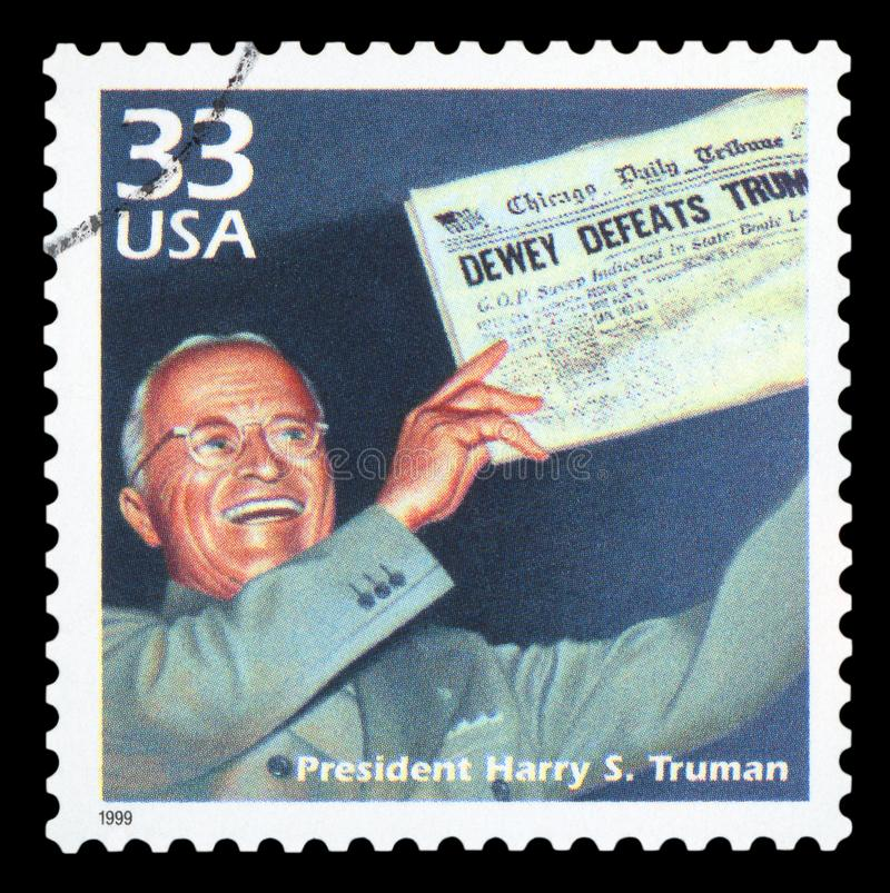 US - Postage Stamp. UNITED STATES OF AMERICA - CIRCA 1999: a postage stamp printed in USA showing an image of president Harry S. Truman, circa 1999 stock photo