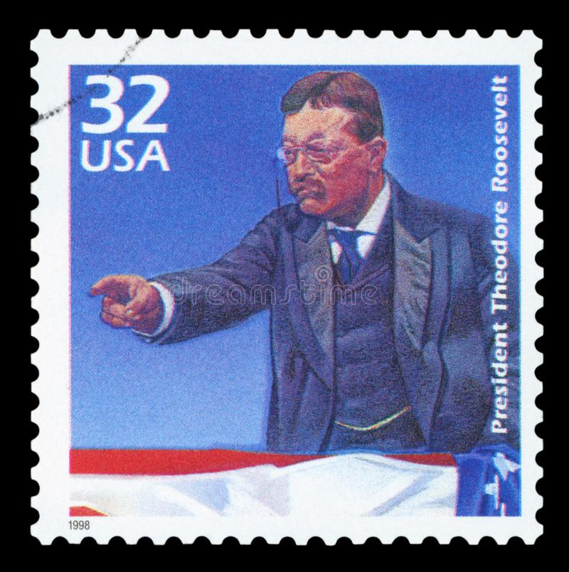 US - Postage Stamp. UNITED STATES OF AMERICA - CIRCA 1998: a postage stamp printed in USA showing an image of president Theodore Roosevelt, circa 1998 royalty free stock photos