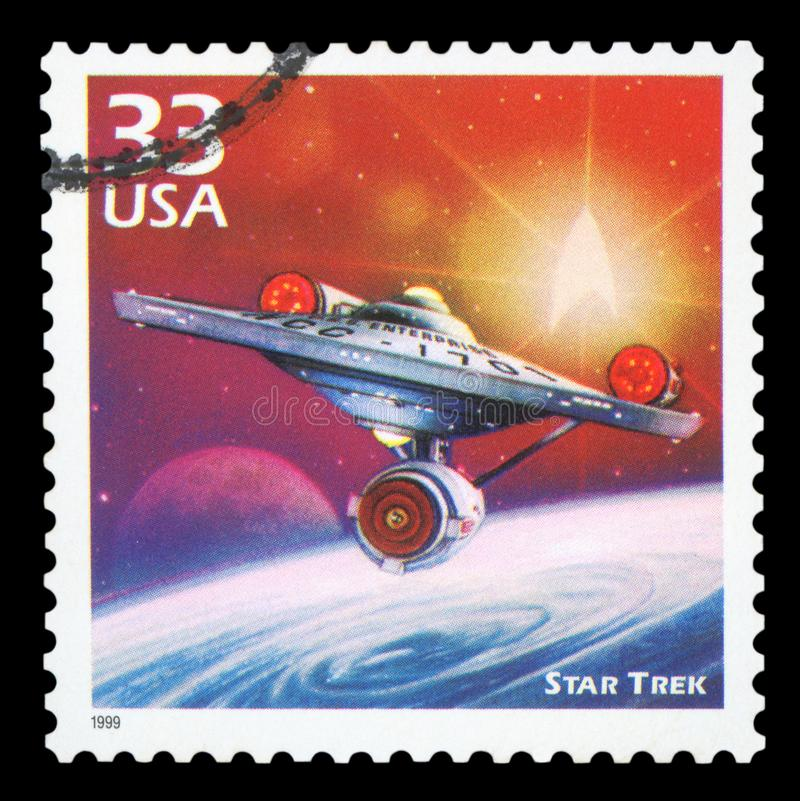 US - Postage Stamp. UNITED STATES OF AMERICA, CIRCA 1999: a postage stamp printed in USA showing an image of a Star Trek spacecraft, circa 1999 stock image