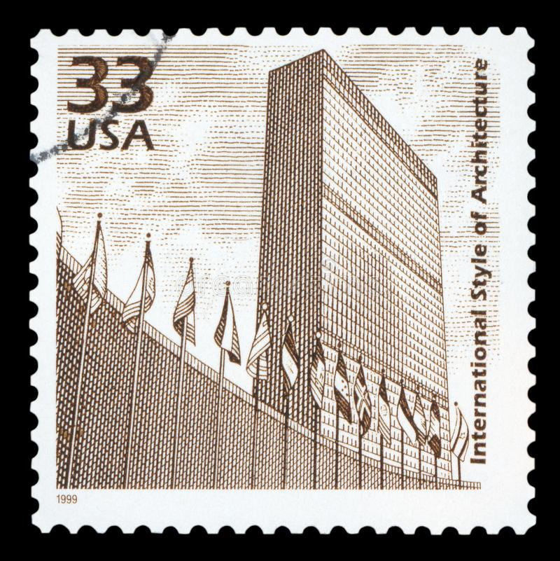 US - Postage Stamp. UNITED STATES OF AMERICA - CIRCA 1999: a postage stamp printed in USA showing an image of United Nations building, circa 1999 royalty free stock image