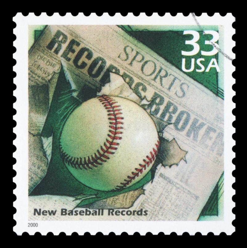 US - Postage Stamp. UNITED STATES OF AMERICA - CIRCA 2000: A stamp printed in USA shows Baseball and Newspaper Headline, devote New records, series Celebrate the stock images