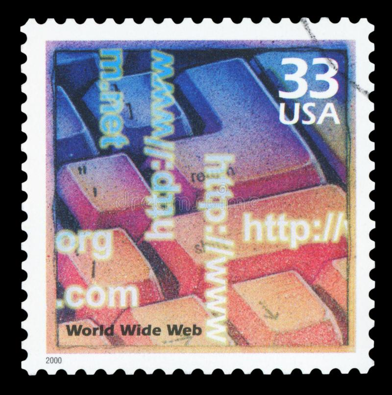 US - Postage Stamp. UNITED STATES OF AMERICA - CIRCA 2000: A stamp printed in USA shows Computer keyboard, introduction of the Internet and the World Wide Web royalty free stock photo