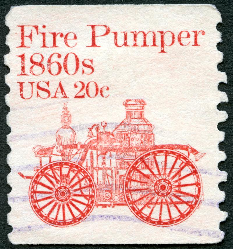 USA - 1981: shows Fire Pumper 1860s, series Transportation Colls series. UNITED STATES OF AMERICA - CIRCA 1981: A stamp printed in USA shows Fire Pumper 1860s stock image