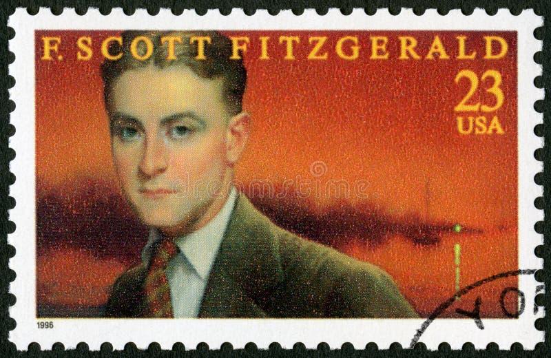 USA - 1996: shows Francis Scott Key Fitzgerald 1896-1940, series Literary Arts. UNITED STATES OF AMERICA - CIRCA 1996: A stamp printed in USA shows Francis Scott stock images