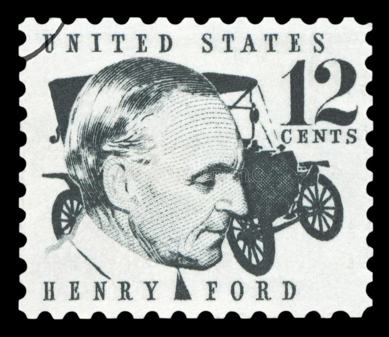 US - Postage Stamp. UNITED STATES OF AMERICA - CIRCA 1968: A stamp printed in USA shows Henry Ford 1863-1947 and car Ford Model T from 1909, circa 1968 royalty free stock photography