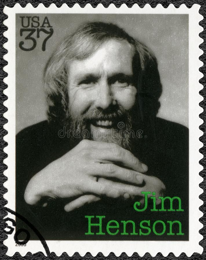 USA - 2005: shows James Maury Jim Henson 1936-1990, puppeteer, artist, cartoonist. UNITED STATES OF AMERICA - CIRCA 2005: A stamp printed in USA shows James royalty free stock photography