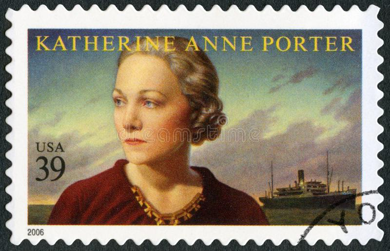 USA - 2006: shows Katherine Anne Porter 1890-1980, journalist and writer, literary arts series. UNITED STATES OF AMERICA - CIRCA 2006: A stamp printed in USA stock images