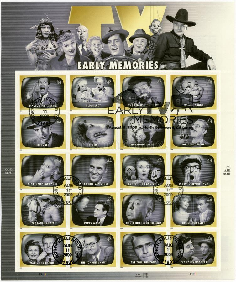 USA - 2009: shows series Early TV Memory. UNITED STATES OF AMERICA - CIRCA 2009: A stamp printed in USA shows series Early TV Memory, circa 2009 royalty free stock photos