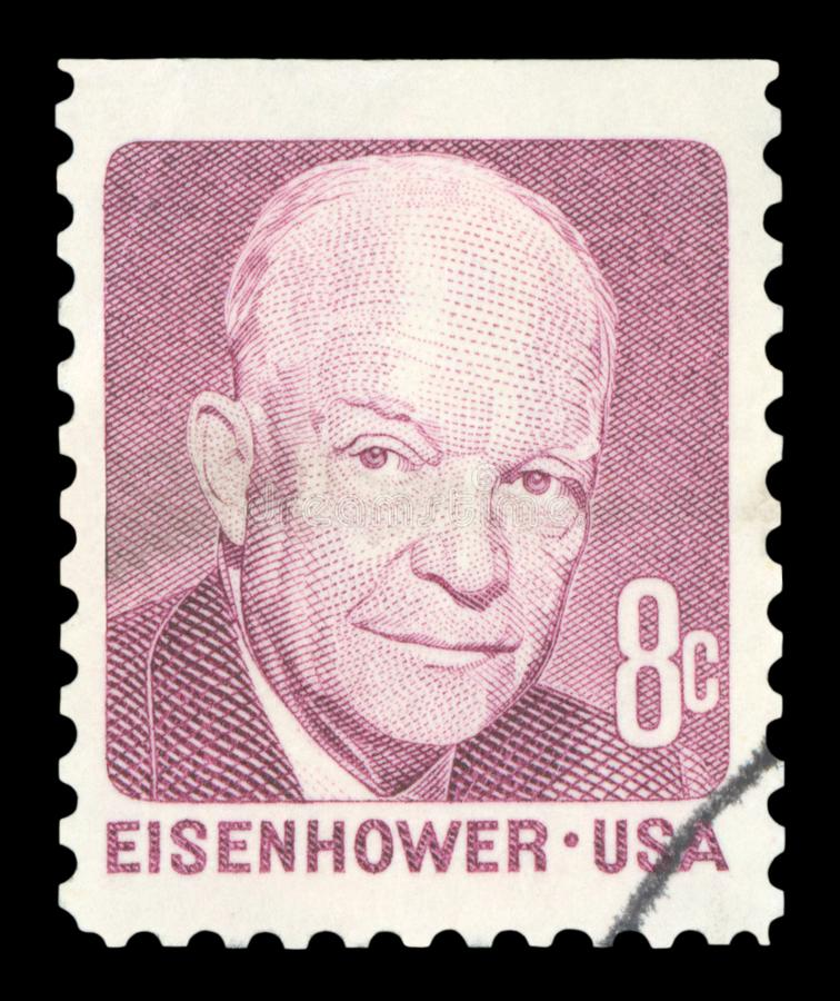 US - Postage Stamp. UNITED STATES OF AMERICA - CIRCA 1971: A used postage stamp from the USA, depicting a portrait of former US President Dwight D Eisenhower royalty free stock images