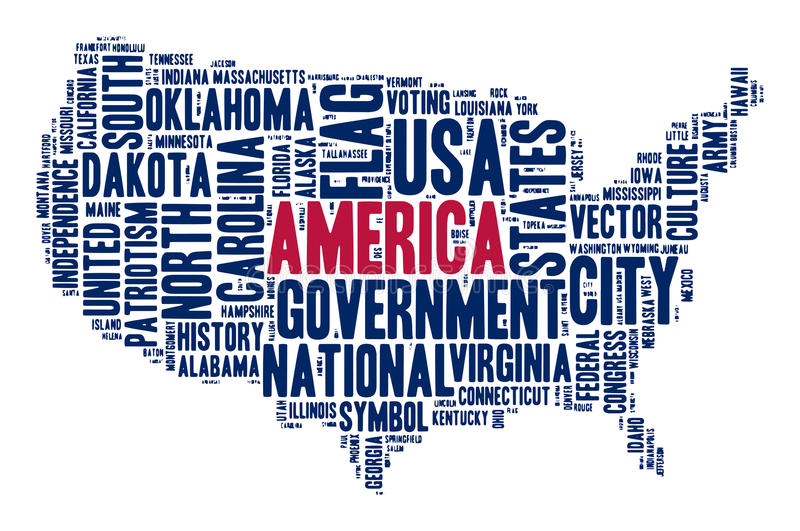 United States Of America Cloud Of Words In Contour Of America