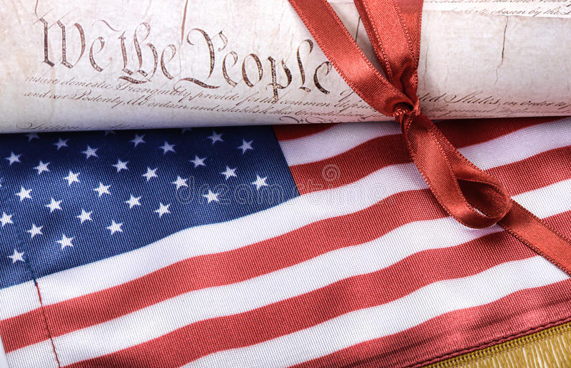 United States of America Constitution and USA flag royalty free stock image
