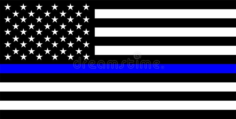 police thin blue line flag stock photos