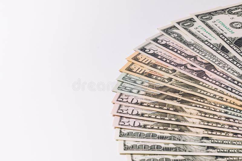 USA money banknotes on white background. stock images