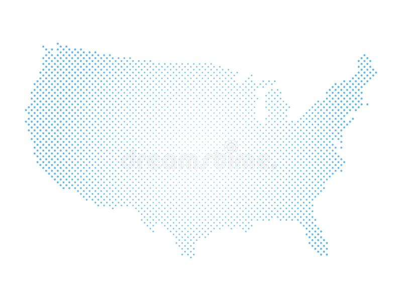 United States of America. Dotted halftone map of USA. Simple flat vector illustration.  stock illustration