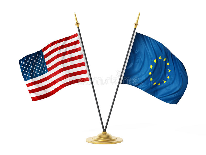United States of America and European Union desktop flags. 3D illustration.  royalty free illustration