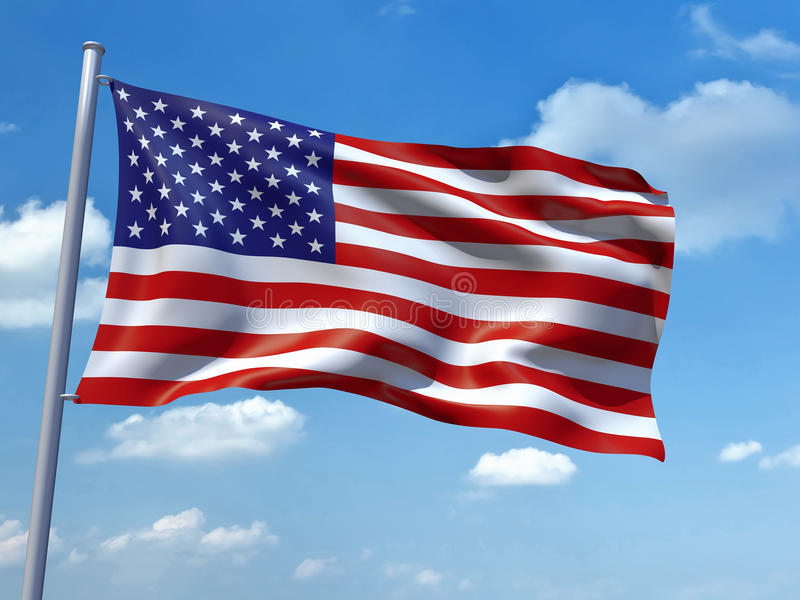 United States of America flag. An image of the United States of America flag in the blue sky vector illustration