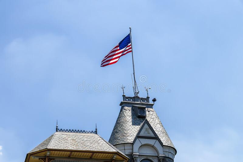 United States of America Flag at The Belvedere Castle in Central Park, New York City. United States of America Flag at The Belvedere Castle in Central Park royalty free stock images
