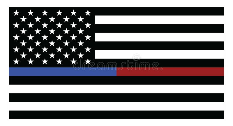 United states of America flag with blue and red thin lines royalty free illustration
