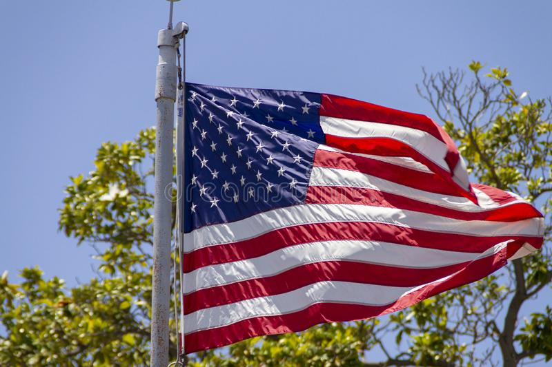 United States of America flag. Close up of the United States of America Flag on a pole stock photo