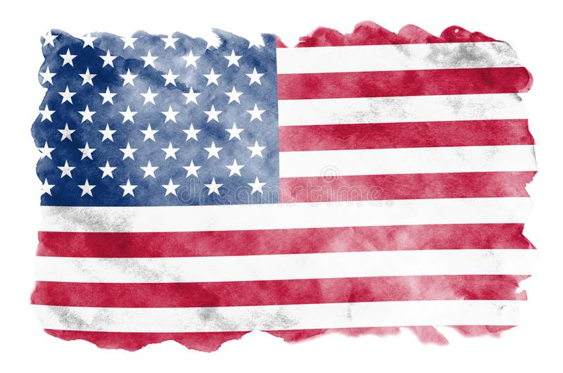 United States of America flag is depicted in liquid watercolor style isolated on white background. Careless paint shading with image of national flag royalty free illustration