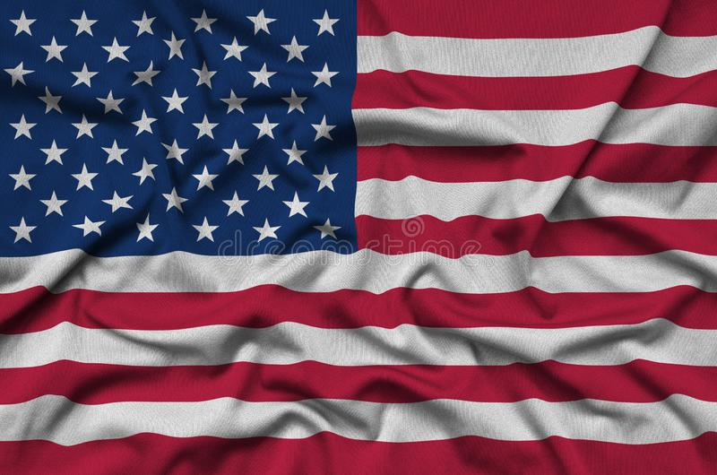 United States of America flag is depicted on a sports cloth fabric with many folds. Sport team banner vector illustration