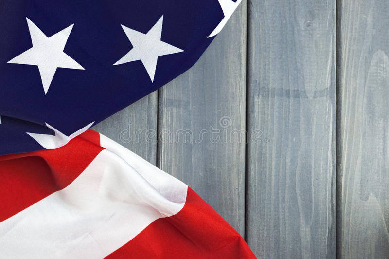 United States of America flag with empty space to write your text on wooden background.  stock images