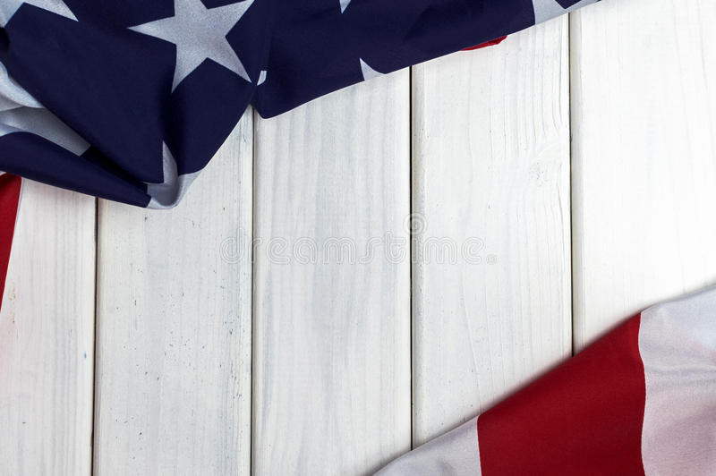 United States of America flag with empty space to write your text on wooden background.  royalty free stock photo