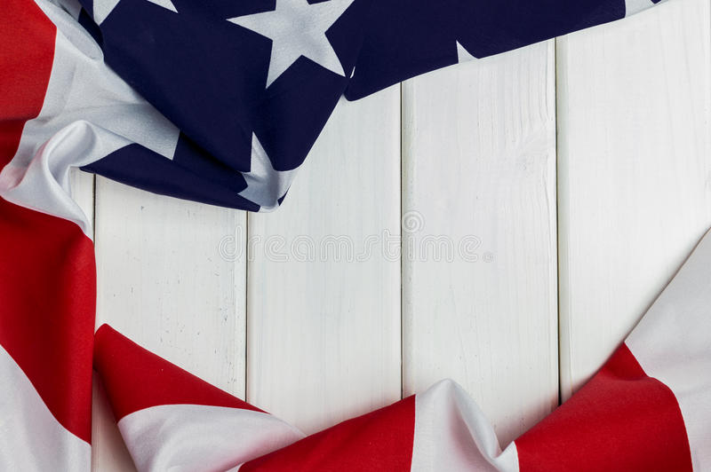 United States of America flag with empty space to write your text on wooden background.  royalty free stock photography