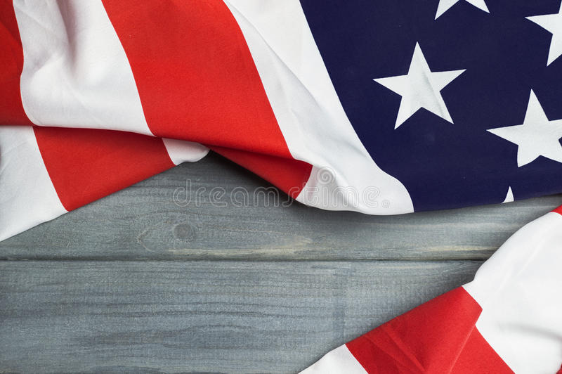 United States of America flag with empty space to write your text on wooden background.  royalty free stock images