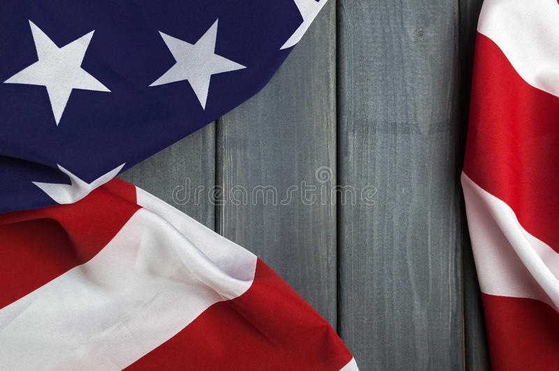 United States of America flag with empty space to write your text on wooden background.  royalty free stock photos