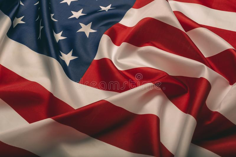 United States of America flag. Image of the american flag flying in the wind royalty free stock images