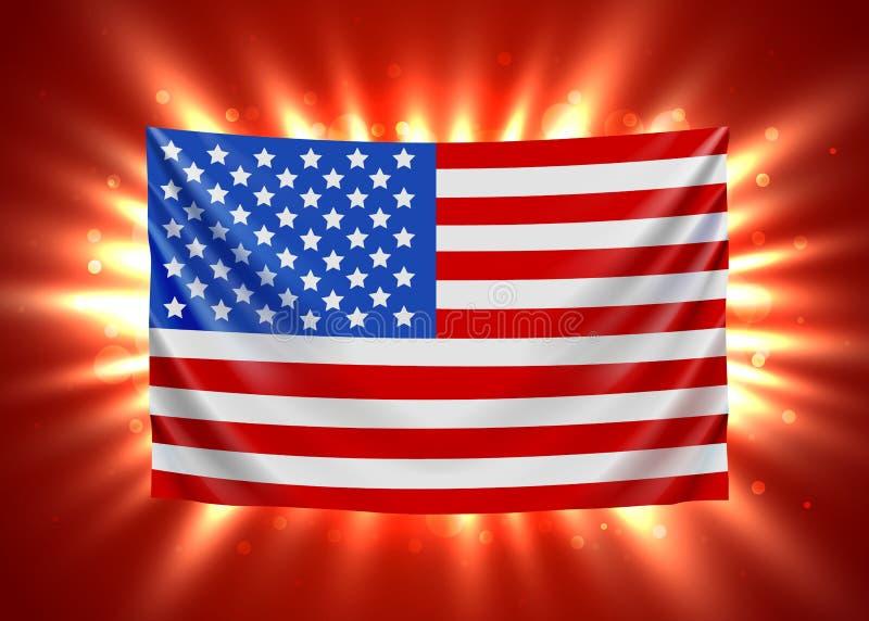 United states of america flag with light beams. USA flag background. stock illustration