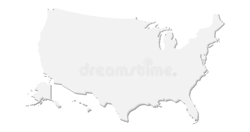 United States of America Flag Map Light White Paper Cutout. Cut Out Vector royalty free illustration
