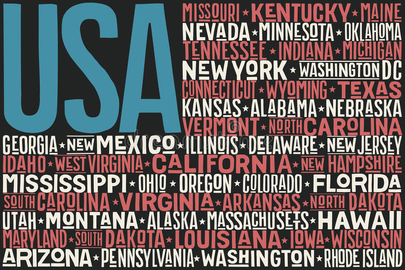 United States of America flag. Poster of United States of America flag with states and capital cities. Print for t-shirt of USA flag with names states. Colorful vector illustration
