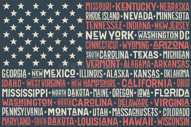 United States of America flag. Poster of United States of America flag with states and capital cities. Print for t-shirt of USA flag with names states. Colorful royalty free illustration