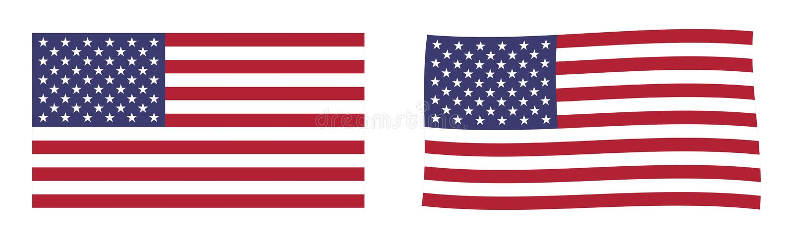United States of America flag. Simple and slightly waving version. vector illustration