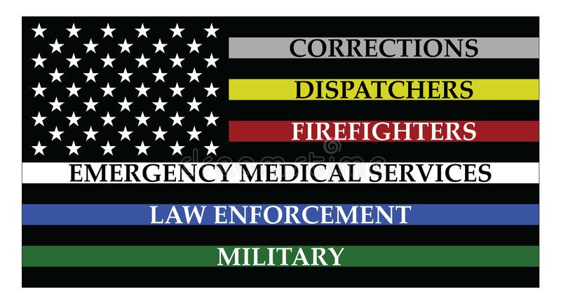 United states of America flag with thin colored lines. United states of America flag with colored lines represent corrections, dispatchers, firefigters stock illustration