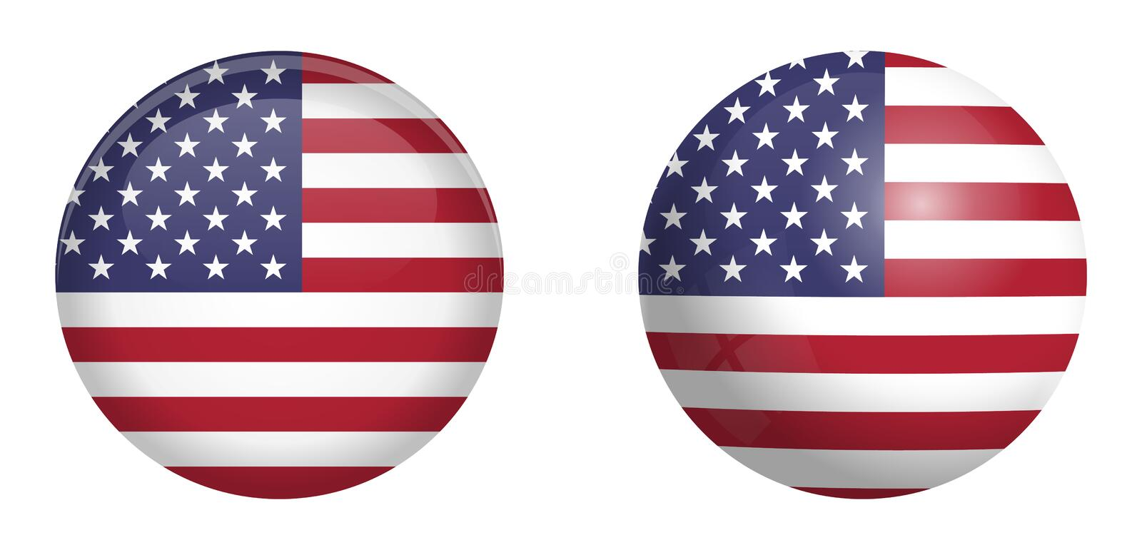 United States of America flag under 3d dome button and on glossy sphere / ball stock illustration