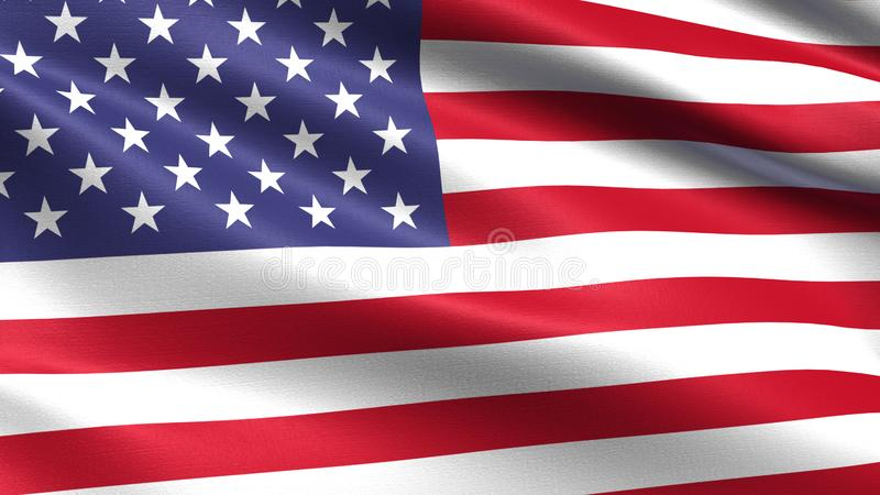 United States of America flag, with waving fabric texture. Flag blowing in the wind with highly detailed fabric texture, 4k resolution royalty free illustration