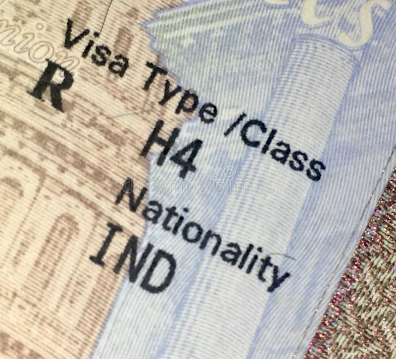 United States of America h4 dependent visa royalty free stock photo