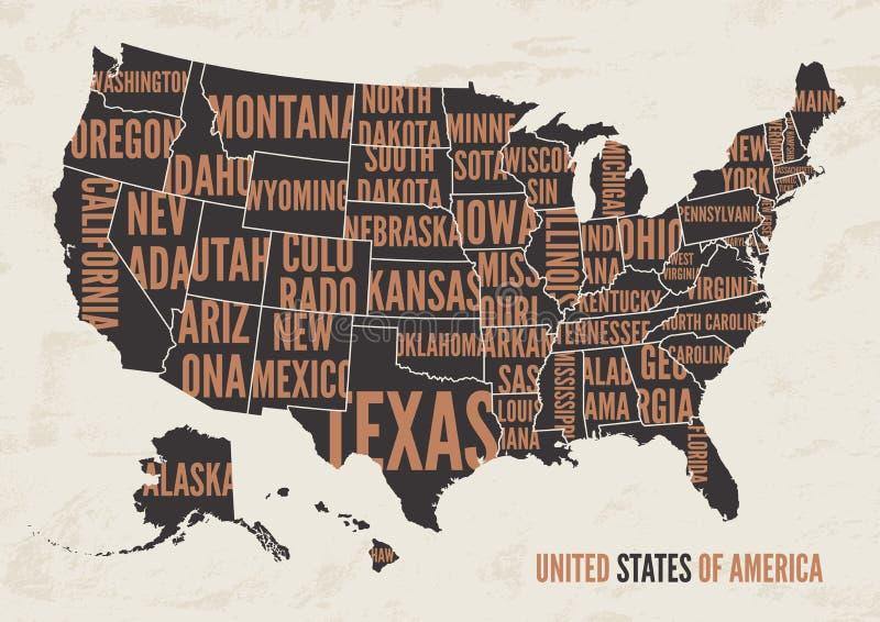 United States of America map print poster vintage design. stock illustration